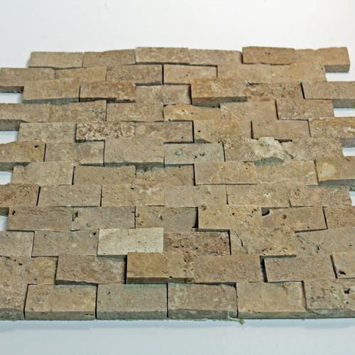 Natural Stone Mosaic Tile 1X2 Mini Subway Chocolate Splitface