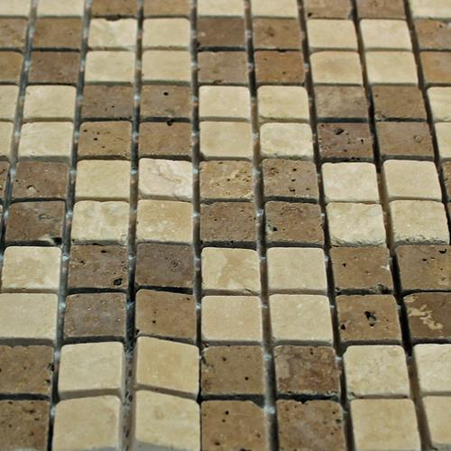 Natural Stone Mosaic Tile Checkerboard Mocha/Chocolate