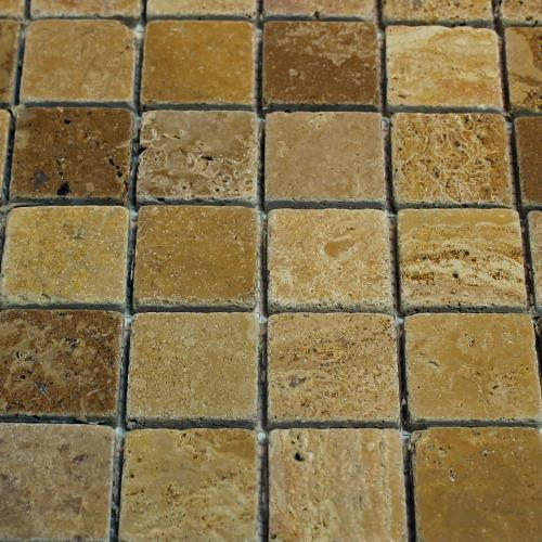 Natural Stone Mosaic Tile 2X2 Golden Sienna