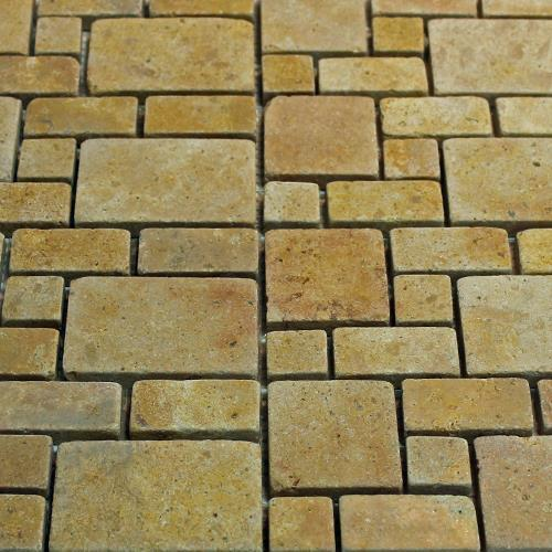 Natural Stone Mosaic Tile Mini Versailles Golden Sienna