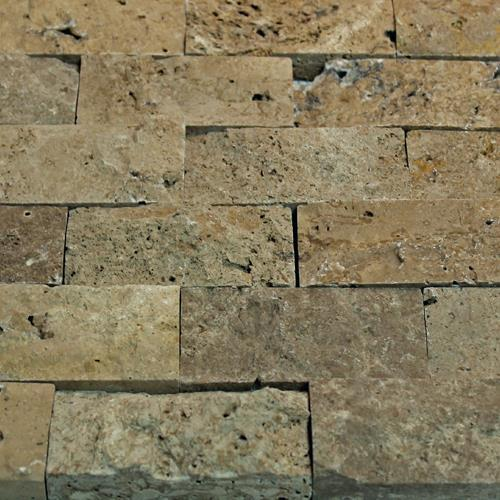 Natural Stone Mosaic Tile 2X4 Subway Chocolate Splitface