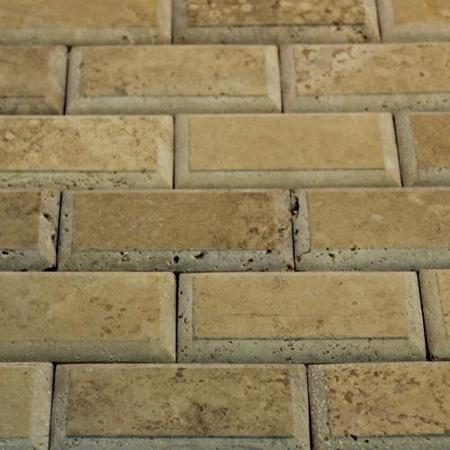 Natural Stone Mosaic Tile 2X4 Subway Mocha Relieve