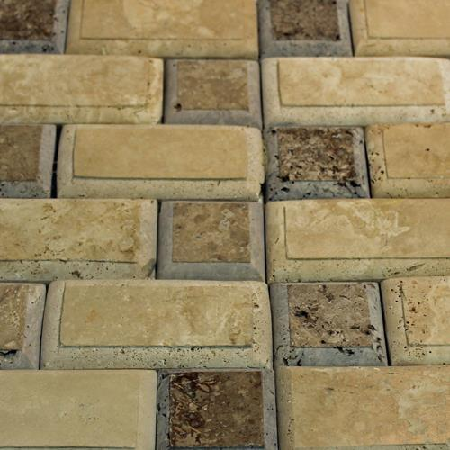 Natural Stone Mosaic Tile 2X4 Mocha/2X2 Chocolate Relieve