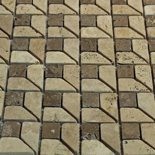 Natural Stone Mosaic Tile Third Dimension Mocha 1X1 Chocolate