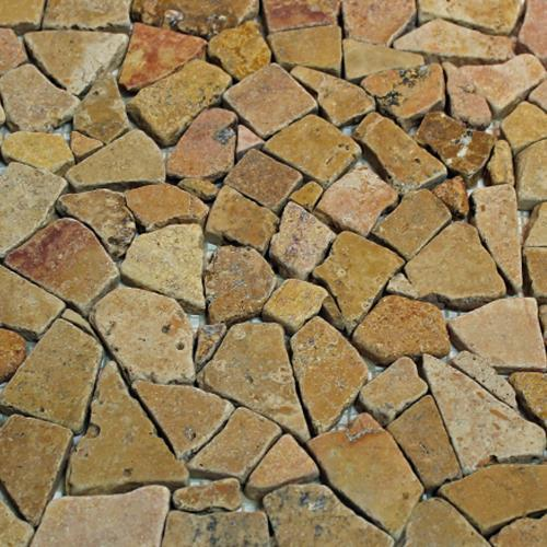 Natural Stone Mosaic Tile Broken Pieces Golden Sienna