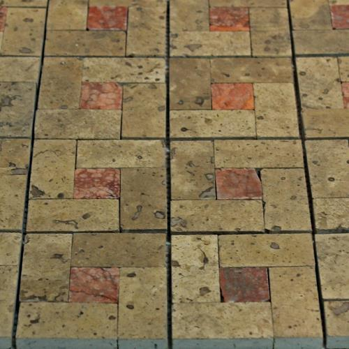 Natural Stone Mosaic Tile Basket Chocolate/1X1 Rojo Alicante
