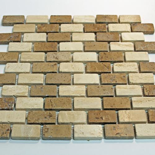 Natural Stone Mosaic Tile 1X2 Mini Subway Mocha/Chocolate