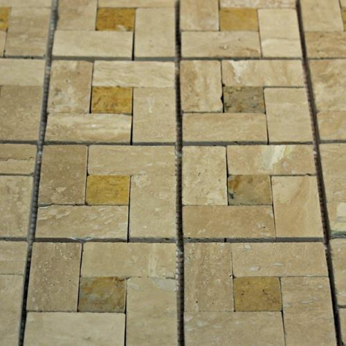 Natural Stone Mosaic Tile Basket Mocha/1X1 Golden Sienna