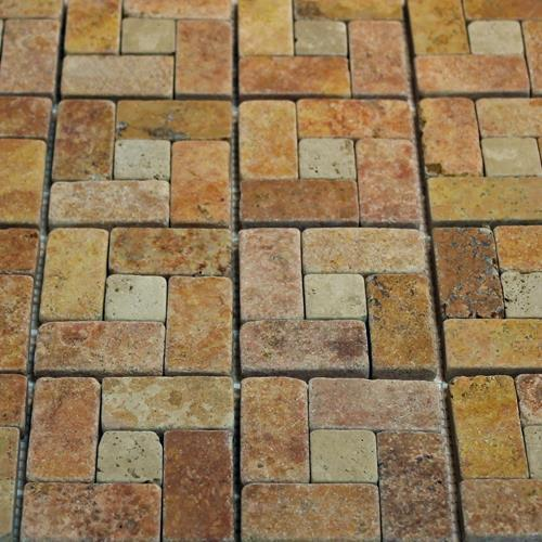 Natural Stone Mosaic Tile Basket Peach/1X1 Mocha