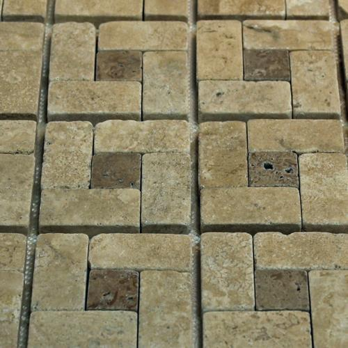 Natural Stone Mosaic Tile Basket Mocha/1X1 Chocolate