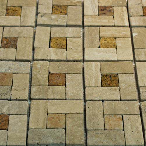 Natural Stone Mosaic Tile Basket Mocha/1X1 Peach