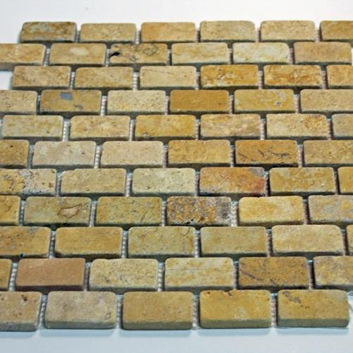 Natural Stone Mosaic Tile 1X2 Mini Subway Golden Sienna