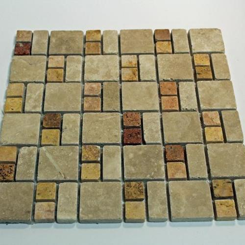Natural Stone Mosaic Tile 2X2 Square Mocha/1X2 Mini Subway Mocha/1X1 Square Peach