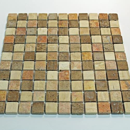 Natural Stone Mosaic Tile 1X1 Square Multi Color