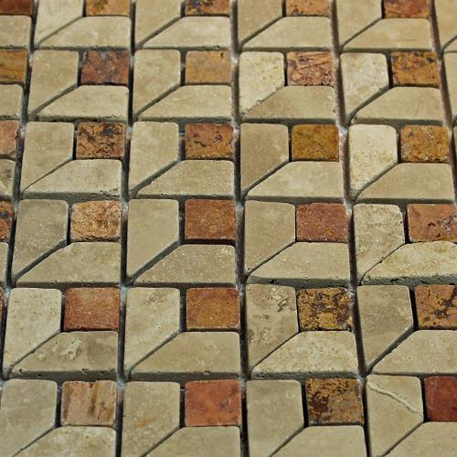 Natural Stone Mosaic Tile Third Dimension Mocha 1X1 Peach