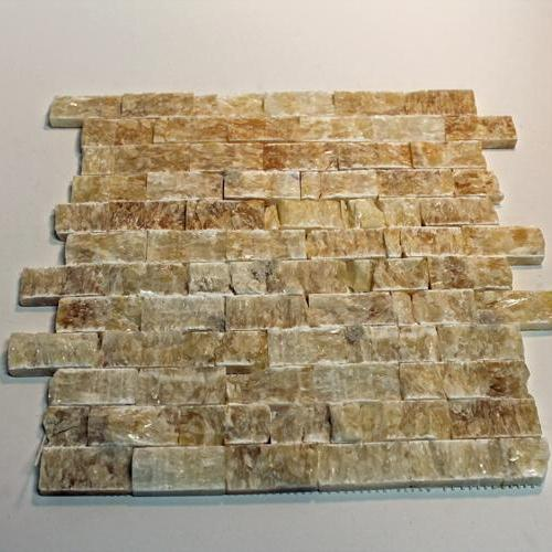 Natural Stone Mosaic Tile 1X2 Mini Subway Caramel Splitface Travertine