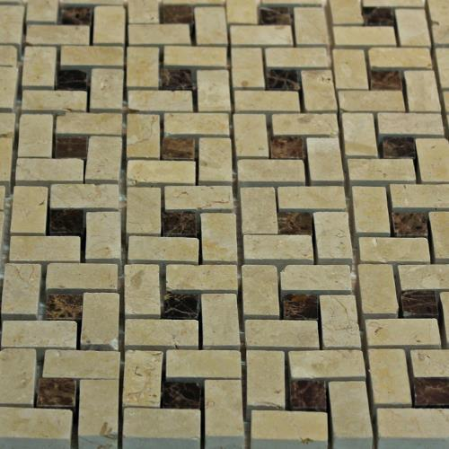 Natural Stone Mosaic Tile Basket Weave Desert Cream/Dark Emperador