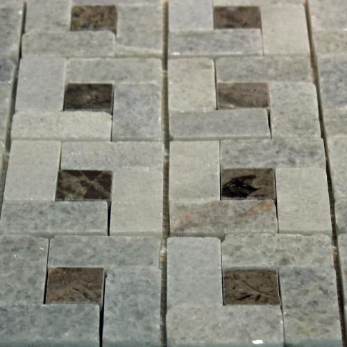 Natural Stone Mosaic Tile Basket Blanco Crystal/1X1 Gris