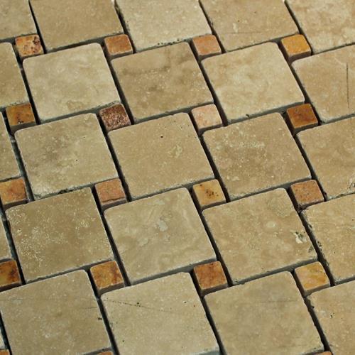 Natural Stone Mosaic Tile Pinwheel Mocha/Peach