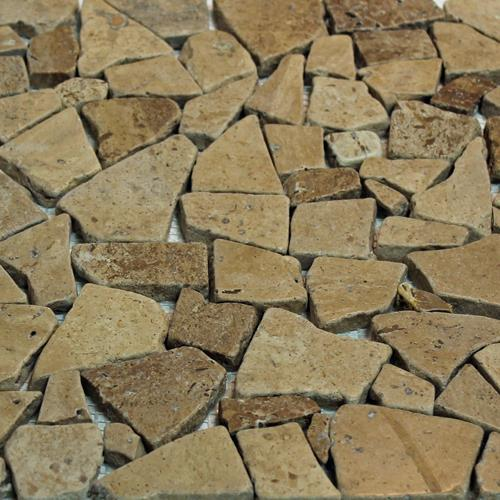 Natural Stone Mosaic Tile Broken Pieces Chocolate