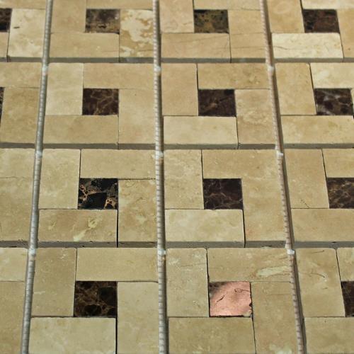 Natural Stone Mosaic Tile Basket Mocha/1X1 Dark Emperador