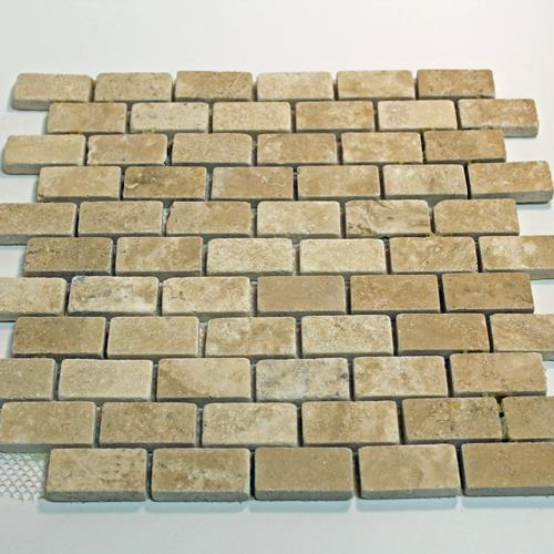 Natural Stone Mosaic Tile 1X2 Mini Subway Mocha