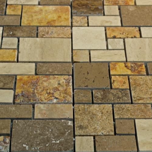 Natural Stone Mosaic Tile Mini Versailles Multi Color