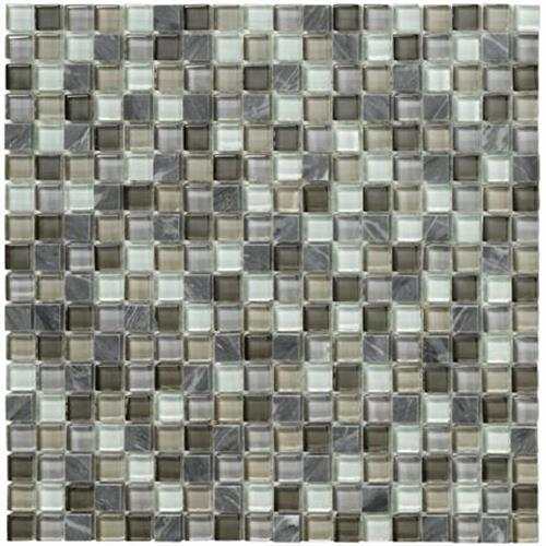 Crystal Stone II Pewter Mosaic Square - 12x12