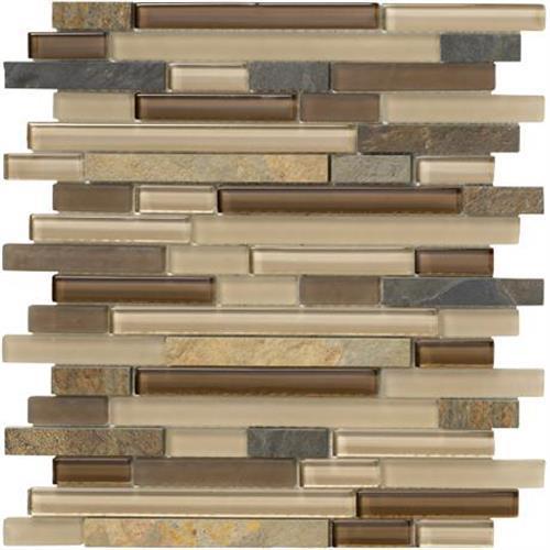 Crystal Stone II Terracotta Mosaic Strip - 12x12