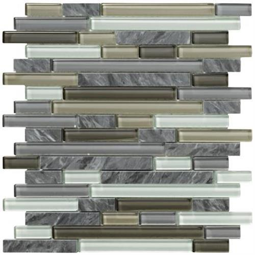 Crystal Stone II Pewter Mosaic Strip - 12x12