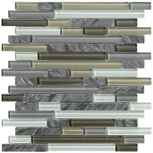 GlassTile CrystalStonell UL95 PewterRandomStrip