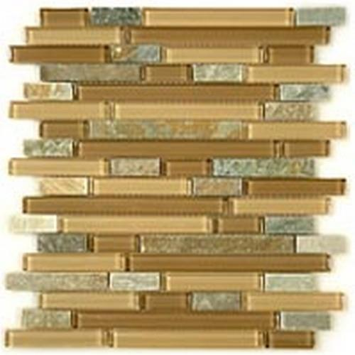 Glass  Slate Series Random Brick Contemporary Mocha