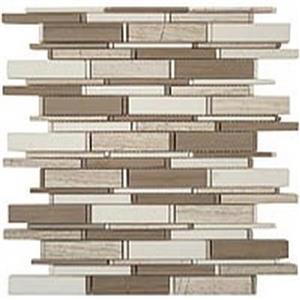 GlassTile CascadeSeries CS-94 WoodenWhite-AthenGray-ThassosMix