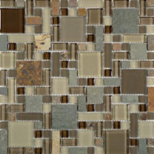 Glass  Slate Block Random Rustic Taupe