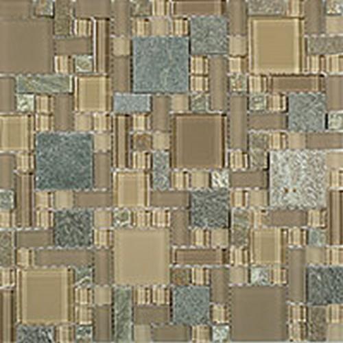 Glass  Slate Brick Contemporary Mocha