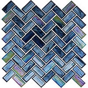 GlassTile OceaniaSeries-HerringbonePattern OCS-182 CobaltSea