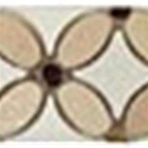 GlassTile FlowerSeriesListello FS-710L CremaMarfilOval-EmpDarkDots-ThassosWhiteDots