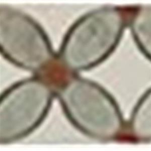GlassTile FlowerSeriesListello FS-720L MingGreenOval-RedDots-ThassosWhiteBase