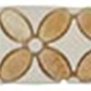 GlassTile FlowerSeriesListello FS-750L HoneyOnyxOval-ThassosWhiteDots-ThassosWhiteBase