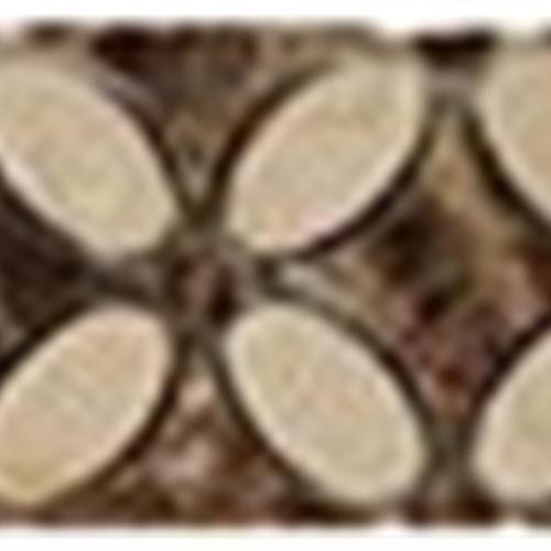 Flower Series Listello Crema MarfilOval-Emp DarkDots-Emp Dark Base