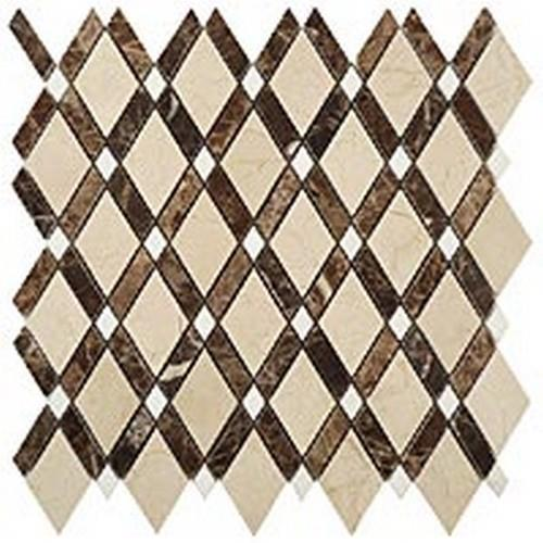 Diamond Series Crema MarfilBig Diamond-Empr Dark Stripes-Thassos White Dots