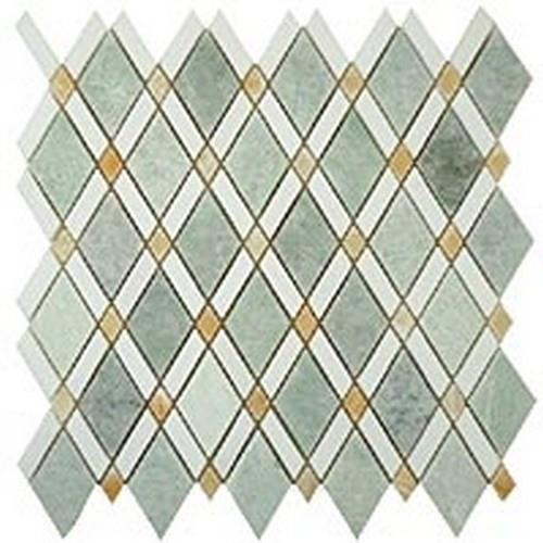 Ming Green Light(Big Diamond)-Thassos White (Stripes)-Honey Onyx(Small Diamonds)