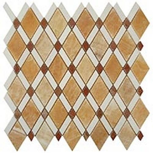Honey Onyx (Big Diamond)-Thassos White(Stripes)-Red(Small Diamond)