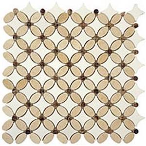 GlassTile FlowerSeries FS-71 CremaMarfilOval-EmpDarkDots-ThassosWhiteDots