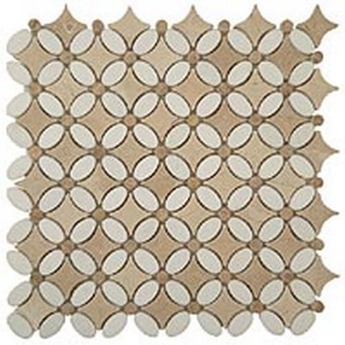 Thassos White(Oval)-Emp. Light (Dots)-Crema Marfil(Base)