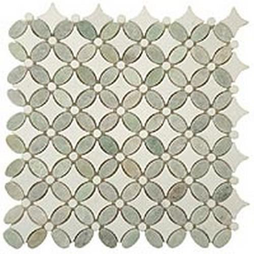 Flower Series Ming Green Oval-Thassos WhiteDots-Thassos WhiteBase