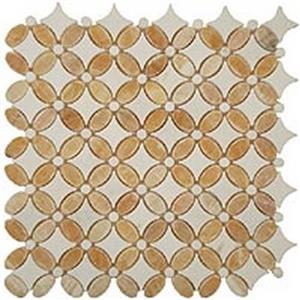 GlassTile FlowerSeries FS-75 HoneyOnyxOval-ThassosWhiteDots-ThassosWhiteBase