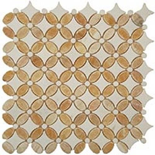 Flower Series Honey OnyxOval-Thassos WhiteDots-Thassos White Base
