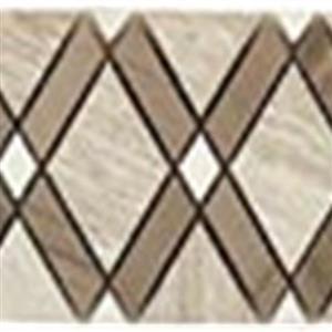 GlassTile DiamondSeriesListello DS-550L WoodenWhiteBigDiamond-AthenGrayStripes-ThassosWhiteSmallDiamond
