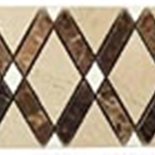 Diamond Series Listello Crema MarfilBig Diamond-Empr Dark Stripes-Thassos White Dots